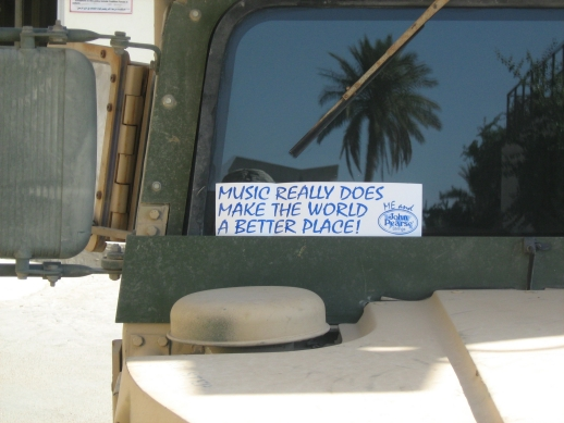 JP Bumpersticker on HumVee in Baghdad, Iraq courtesy Operation Music Aid