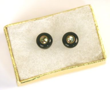 John Pearse® Horn Brass/Abalone French Eye Earrings